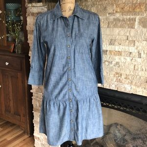 GAP chambray denim tunic dress 3/4 sleeve